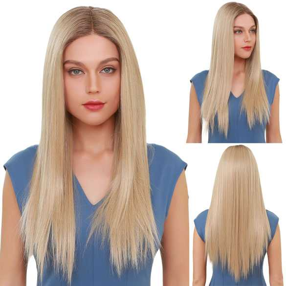 Swiss lace pruik lang steil blond haar zonder pony model Marly