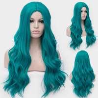 Carnaval pruik lang haar met slagen in turquoise groen