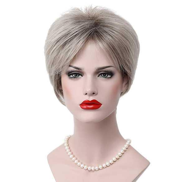 Moderne pruik kort haar in laagjes grijsmix kleur 48T