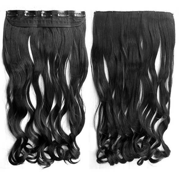 SALE : Clip-in haarstuk zwart met slagen kleur 1b