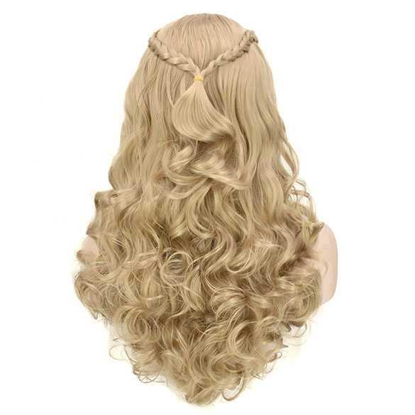 Mooie asblonde pruik lang haar met vlecht model Cinderella