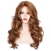 Pruik lang haar met nonchalante krullen in rood blondmix