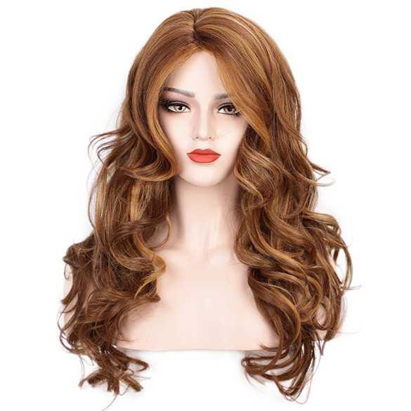 Pruik lang haar met nonchalante krullen in vurige rood blondmix