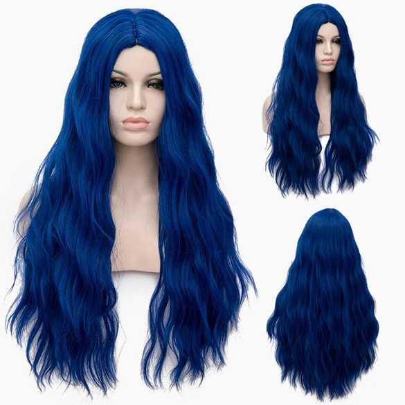 Pruik lang haar met golfjes in koningsblauw