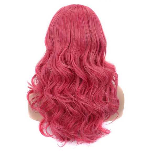 Luxe carnaval pruik lang haar met krullen Princess Pink