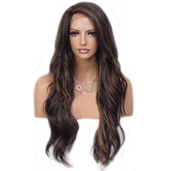 Lace pruik lang haar zonder pony model Laurel kleur FS4-30