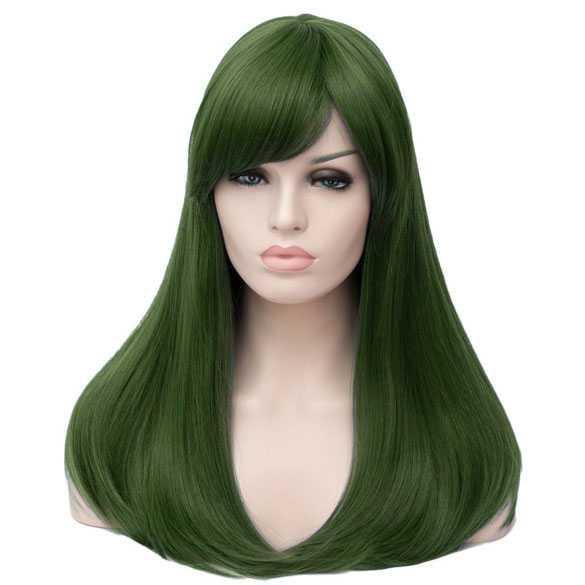 Luxe carnaval pruik olijfgroen lang steil haar