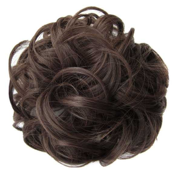 Haar scrunchie met elastiek medium kastanjebruin kleur 4-30