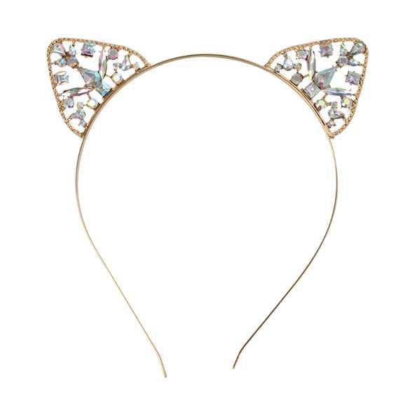 Luxe metalen diadeem katten oortjes met glinster steentjes