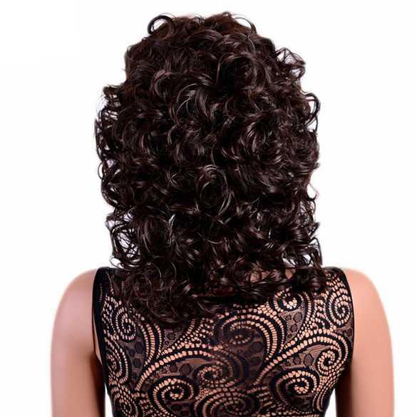 Pruik bruin schouderlang haar met krullen