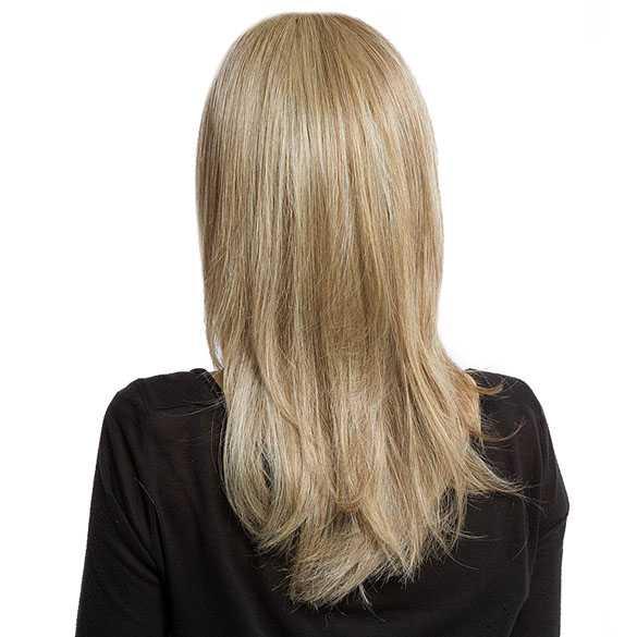 Pruik halflang steil haar in laagjes blondmix model 104