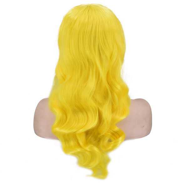 Pruik fel geel met lang krullend haar