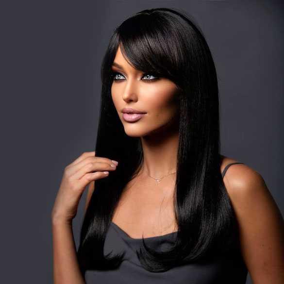 Pruik lang zwart steil haar model Kelly