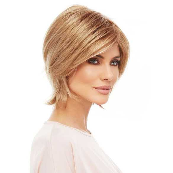 Moderne pruik warm blondmix vlot kort haar model Raquel