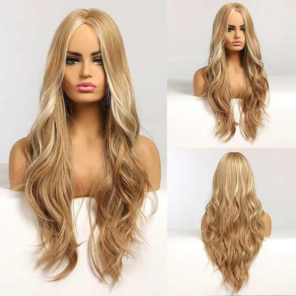 Pruik met lang haar in blondmix en grove slagen model 326