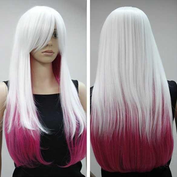 Cosplay pruik lang steil haar wit met roze