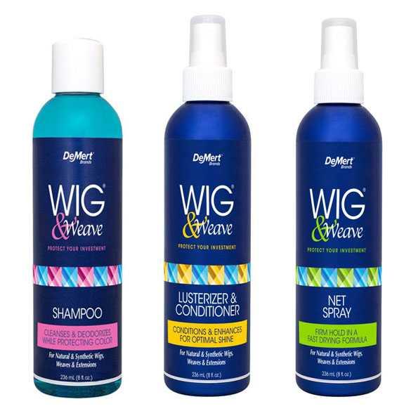 DeMert set : Pruiken shampoo + conditioner + haarlak met gratis borstel