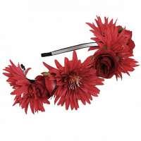 Hippie bloemen diadeem / haarband rood