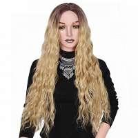 Blonde pruik zeer lang golvend haar zonder pony
