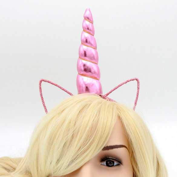 Unicorn glinster haarband met oortjes Roze