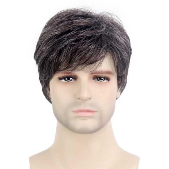 Mannenpruik kort model met subtiel grijze haren