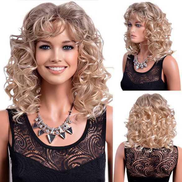 Pruik schouderlang haar in blondmix met krullen