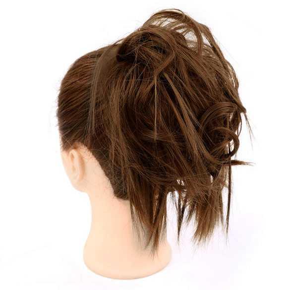 Warrige haar scrunchie met elastiek bruin kleur 8