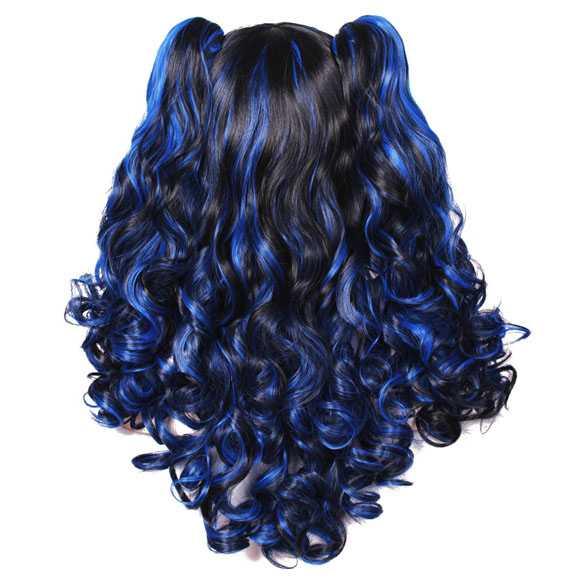 Duo-color pruik zwart blauw met twee staarten op klem