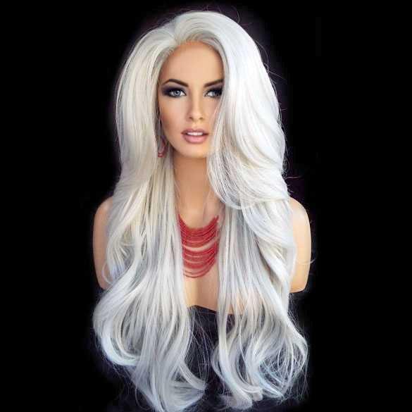 Lace pruik lang haar zonder pony model Kim kleur 60