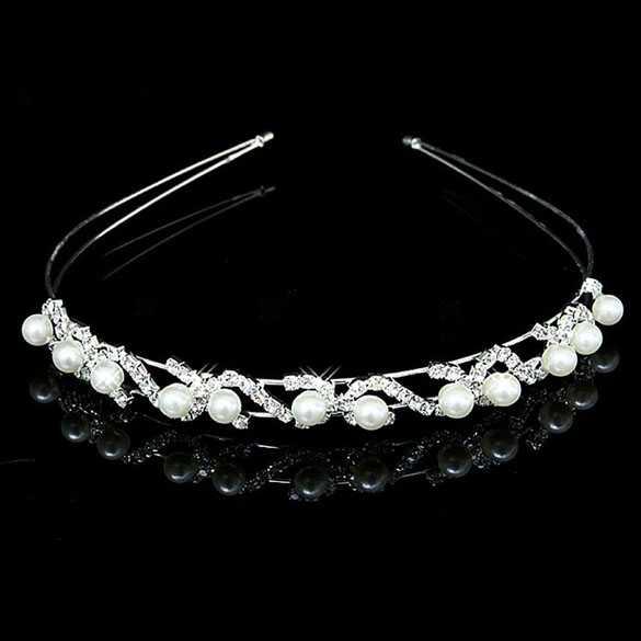 Luxe zilverkleurige diadeem Diamonds and Pearls voor Kerst