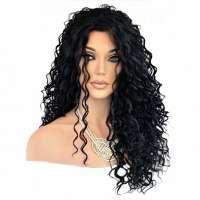 Lace pruik lang zwart haar met krullen Delaney kleur 1b