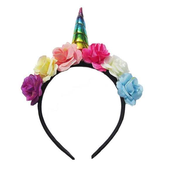 Unicorn diadeem hoorntje rainbow met bloemen