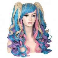Multi-color pruik lang haar met krullen + twee staarten op klem