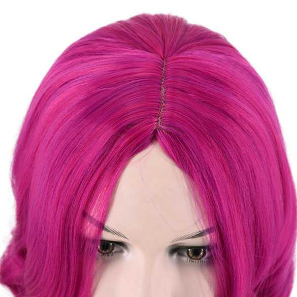 Pruik bob model met krullen in fuchsia kleur