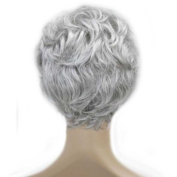 Moderne pruik kort krullend haar grijsmix kleur 51
