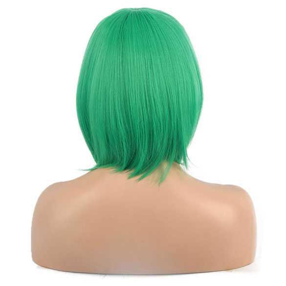 Pruik kort bob model met steil groen haar