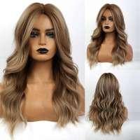 Pruik asblond bruin mix lang haar met grove slagen