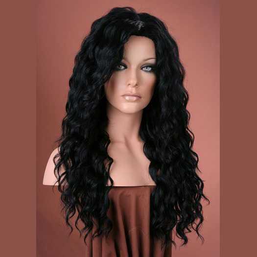 Pruik mix met echt haar model Brenda kleur zwart