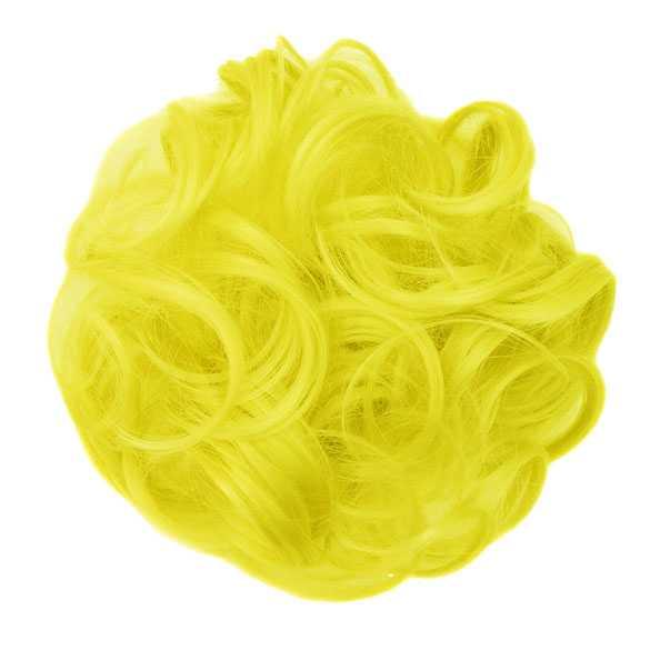 SALE : Color haar scrunchie met elastiek kanarie geel