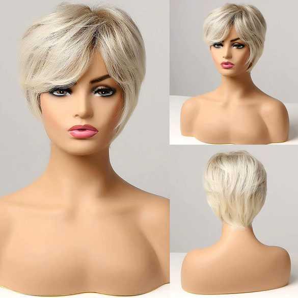 Pruik kort blondmix in laagjes model 174