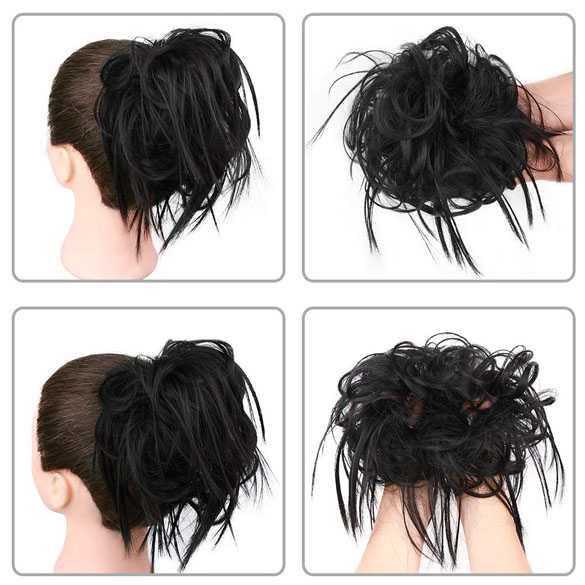 Warrige haar scrunchie met elastiek zwart kleur 1b