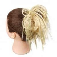 Warrige haar scrunchie met elastiek blondmix kleur 24-613