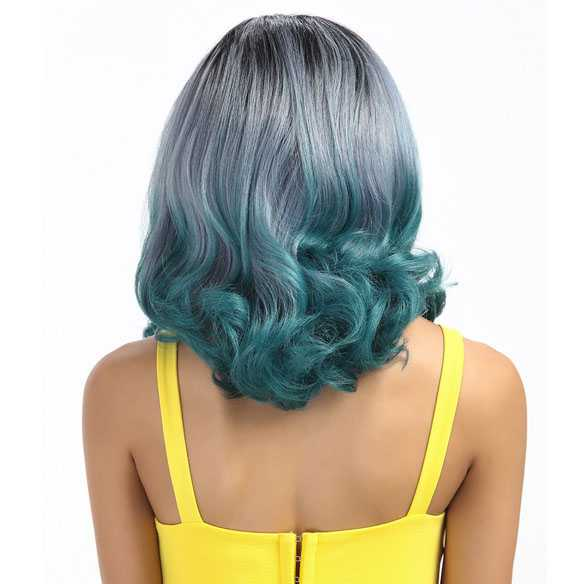 SALE : Ombre pruik grijsblauw turquoise model Mercy