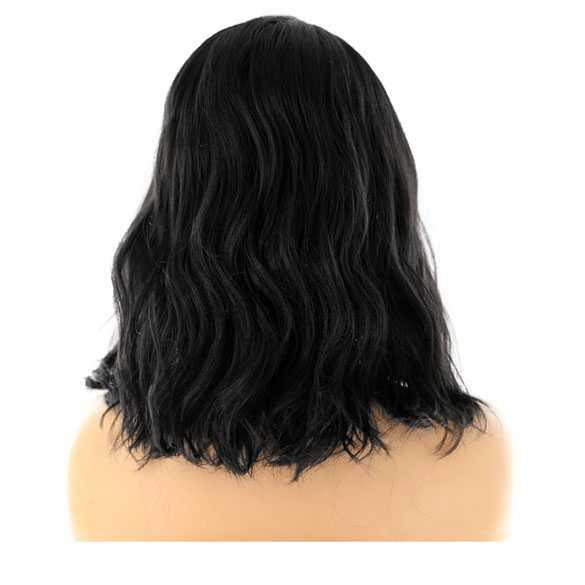 Lace pruik halflang zwart haar met slagen model Venice