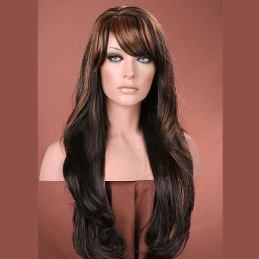 Pruik lang haar met slagen model Carmen kleur P4-27