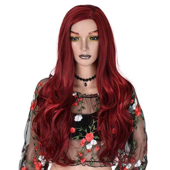 Pruik gothic rood lang haar grove slagen met zij-scheiding
