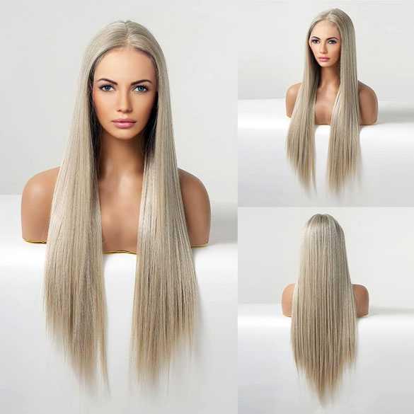 Swiss lace pruik lang steil haar zonder pony model Esmay