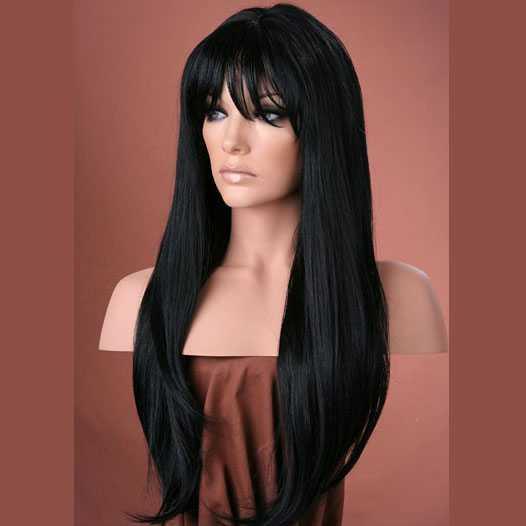 Pruik mix met echt haar lang zwart met pony model Trisha