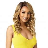 Pruik halflang haar met slagen blond caramel model Kimbra