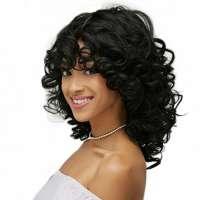 Pruik schouderlang zwart krullend haar